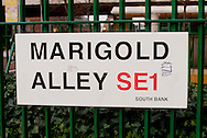 Marigold Alley, street sign, South Bank, London, Britain - 2010