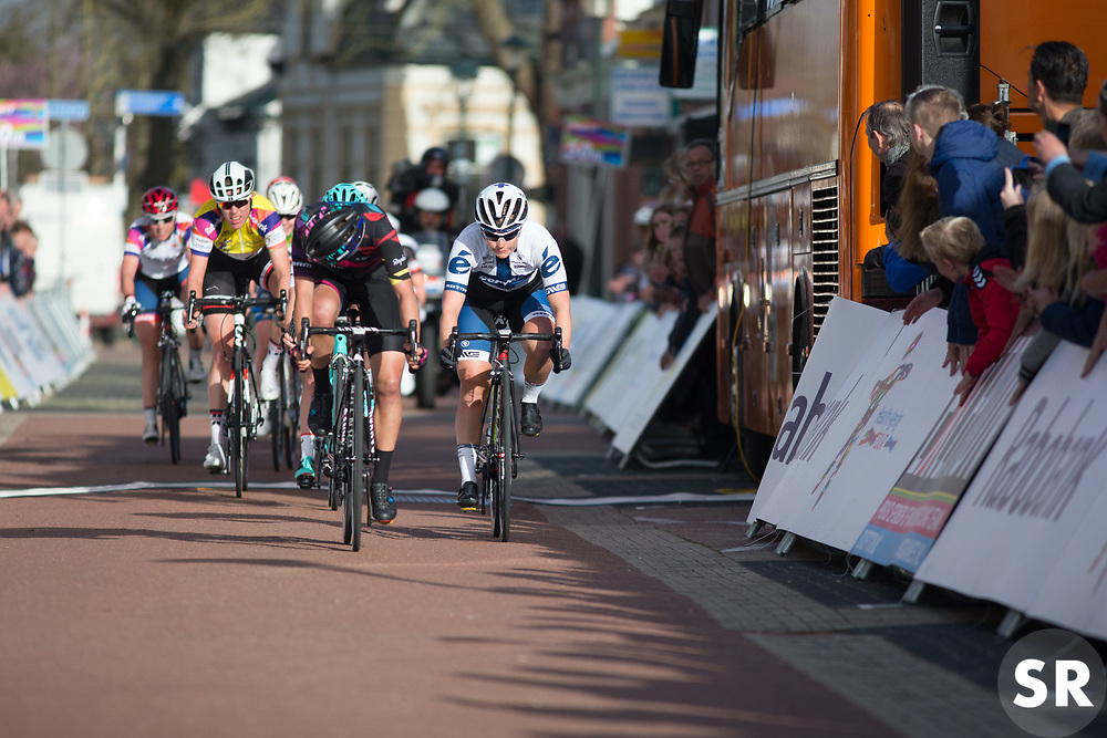 Barbara Guarischi (ITA) of CANYON//SRAM Racing pips Lotta Lepistö (FIN) of Cervélo-Bigla Cycling Team at the finish of Stage 1b of the Healthy Ageing Tour - a 77.6 km road race, starting and finishing in Grijpskerk on April 5, 2017, in Groeningen, Netherlands.