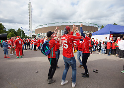 HELSINKI, FINLAND - Friday, July 31, 2015: Liverpool supporters before a friendly match between HJK Helsinki and Liverpool at the Olympic Stadium. (Pic by David Rawcliffe/Propaganda)