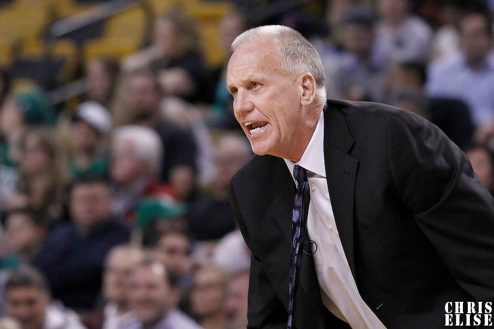 14 May 2012: Philadelphia Sixers head coach Doug Collins is seen during the Philadelphia Sixers 82-81 victory over the Boston Celtics, in Game 2 of the Eastern Conference semifinals playoff series, at the TD Banknorth Garden, Boston, Massachusetts, USA.