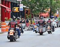 Hidden Faces Motorcycle Club rides through Tribeca, NYC