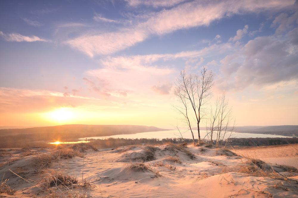 Spring Sunrise over Glen Lake from the Dune Climb.  <br /> Sleeping Bear Dunes National Lakeshore, Michigan