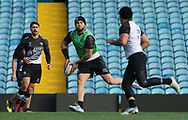 Jared Waerea-Hargreaves (C) during the New Zealand Rugby League captain's run ahead of the 3rd Autumn International Series Match at Elland Road, Leeds.<br /> Picture by Stephen Gaunt/Focus Images Ltd +447904 833202<br /> 10/11/2018