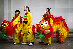 © Licensed to London News Pictures . 26/01/2020. Manchester, UK. Backstage by Manchester Central Library as performers prepare . Thousands of people watch a display of oriental culture and a procession through Manchester city centre to mark Chinese New Year . Photo credit: Joel Goodman/LNP