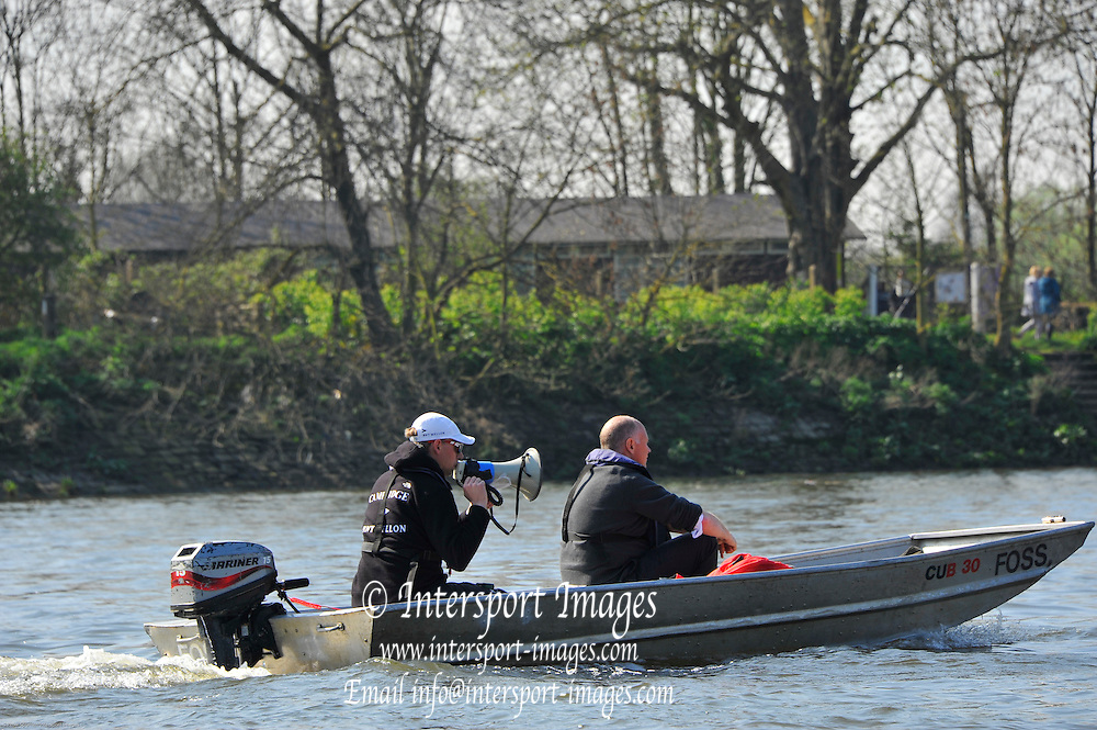 London, UK,  2014 Varsity, Annual Tideway Week. CUBC, Cambridge University Boat Club, Steve TRAPMORE, Chief Coach (left) with Roger STEPHENS, Chairman (right) in coaching launch. 09:47:48  Tuesday  01/04/2014  : [Mandatory Credit Intersport Images]