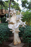 An abstract statue within the grounds of the former home of Antoni Gaudi in Park Guell, Barcelona, Spain