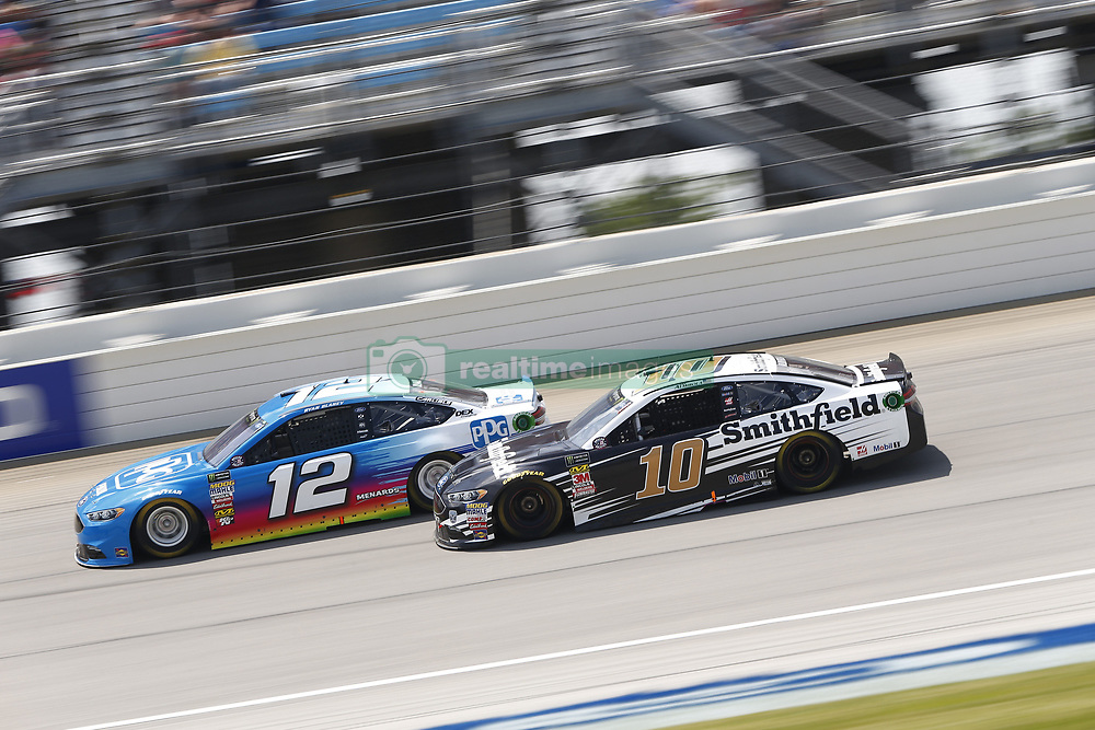 July 1, 2018 - Joliet, Illinois, United States of America - Ryan Blaney (12) battles for position during the Overton's 400 at Chicagoland Speedway in Joliet, Illinois  (Credit Image: © Justin R. Noe Asp Inc/ASP via ZUMA Wire)