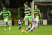 Forest Green Rovers Jordan Stevens(35) is challenged by Swansea City's Adam King during the EFL Trophy match between Forest Green Rovers and U21 Swansea City at the New Lawn, Forest Green, United Kingdom on 31 October 2017. Photo by Shane Healey.
