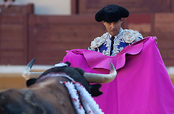 The 3 Bullfighters Juan Bautista, Fernando Robleno and Juan del Alamo bullfight 6 bulls at La Estudiantil Bullfight round (Plaza de Toros) in Alcala de Henares into the Saint Bartolome August Fair, Madrid, Spain on Friday, August 30, 2013. Photo by Eduardo Dieguez / DyD Fotografos<br /> SPAIN OUT