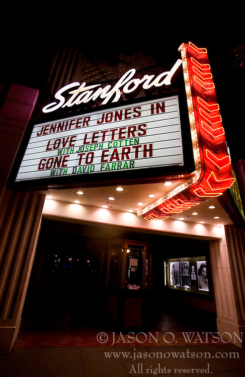 The marquee sign with flashing lights of the Stanford Theatre, established in 1925, on University Avenue in Palo Alto, California, United States of America.