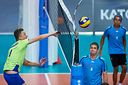 Katowice, Poland - 2017 September 02: (L) Athlete Viacheslav Zbikovskiy from SO Russia spikes the ball while SO Russia versus SO Czech Republic semifinal match during European Unified Volleyball Tournament 2017 at Spodek Hall on September 02, 2017 in Katowice, Poland.<br /> <br /> Adam Nurkiewicz declares that he has no rights to the image of people at the photographs of his authorship.<br /> <br /> Picture also available in RAW (NEF) or TIFF format on special request.<br /> <br /> Any editorial, commercial or promotional use requires written permission from the author of image.<br /> <br /> Image can be used in the press when the method of use and the signature does not hurt people on the picture.<br /> <br /> Mandatory credit:<br /> Photo by &copy; Adam Nurkiewicz / Mediasport