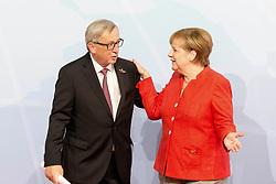 July 7, 2017 - Hamburg, Hamburg, Deutschland - Jean-Claude Juncker und Angela Merkel bei der Begrüßung der Teilnehmer des 12. G20 Gipfel 2017. Hamburg, 07.07.2017 (Credit Image: © Future-Image via ZUMA Press)