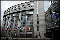 A general view of the exterior of the European Parliament building in Brussels, Belgium, April 11, 2013, Picture by Andrew Parsons / i-Images