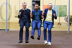 &copy; Licensed to London News Pictures. 02/10/2017. London, UK. RASMUS NIELSEN, BJORNSTJERNE CHRISTIANSEN and JAKOB FENGER of <br /> Copenhagen artist group SUPERFLEX transforms the Tate Modern Turbine Hall with their creation  'One Two Three Swing!'<br /> for the third Hyundai Commission. Based in Copenhagen SUPERFLEX was founded in 1993 by Danish artists and Bj&oslash;rnstjerne Christiansen, Jakob Fenger and Rasmus Nielsen. They have gained international recognition for their projects and solo exhibitions around the world. Photo credit: Ray Tang/LNP