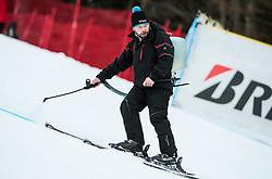 "Worker preparing the course prior to the 1st Run of the FIS Alpine Ski World Cup 2017/18 5th Ladies' Giant Slalom race named ""Golden Fox 2018"", on January 6, 2018 in Podkoren, Kranjska Gora, Slovenia. Photo by Ziga Zupan / Sportida"