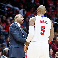 23 December 2016: LA Clippers head coach Doc Rivers talks to LA Clippers center Marreese Speights (5) during the Dallas Mavericks 90-88 victory over the LA Clippers, at the Staples Center, Los Angeles, California, USA.
