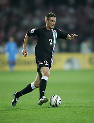 WARSAW, POLAND - WEDNESDAY, SEPTEMBER 7th, 2005: Wales' Robert Edwards in action against Poland during the World Cup Group Six Qualifying match at the Legia Stadium. (Pic by David Rawcliffe/Propaganda)