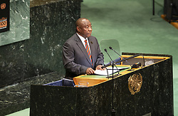 September 24, 2018 - New York, New York, United States - President of Republic of South Africa Cyril Ramaphosa speaks during Nelson Mandela Peace Summit at UN General Assembly 73rd session at United Nations Headquarters  (Credit Image: © Lev Radin/Pacific Press via ZUMA Wire)