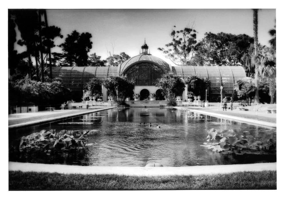 Visions of paradise: Botanical Building in Balboa Park reflected in pond filled with lotus, koi carp and migratory ducks, belying the true semi arid climate of San Diego, California, USA.