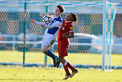 BLACKBURN, ENGLAND - Saturday, January 6, 2018: Blackburn Rovers' Sam Burns and Liverpool's Yasser Larouci during an Under-18 FA Premier League match between Blackburn Rovers FC and Liverpool FC at Brockhall Village Training Ground. (Pic by David Rawcliffe/Propaganda)