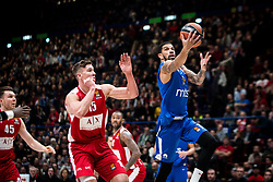 December 29, 2017 - Assago, Milan, Italy - James Feldeine (#14 Crvena Zvezda Mts Belgrade) shoots a layup  during a game of Turkish Airlines EuroLeague basketball between  AX Armani Exchange Milan vs Crvena Zvzda Mts Belgrade at Mediolanum Forum in Milan, Italy, on 29 december 2017. (Credit Image: © Roberto Finizio/NurPhoto via ZUMA Press)