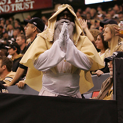 2008 December, 07: Saint Moses prays for a Saints win during the fourth quarter of a 29-25 victory by the New Orleans Saints over NFC South divisional rivals the Atlanta Falconsat the Louisiana Superdome in New Orleans, LA.