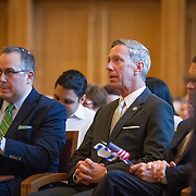 Congressman Stephen Lynch is seen at the CJP and JCRC Community Memorial Service for the murdered Israeli teens at Temple Beth Elohim on July 2, 2014 in Wellesley, Massachusetts. (Photo by Elan Kawesch)