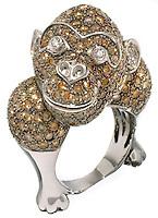 jewel encrusted silver king kong ring