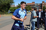 AFC Wimbledon defender Ryan Delaney (21) arriving during the EFL Sky Bet League 1 match between AFC Wimbledon and Shrewsbury Town at the Cherry Red Records Stadium, Kingston, England on 14 September 2019.