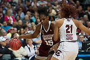 Teaira McCowan #15 of the Mississippi State Lady Bulldogs drives to the basket against the South Carolina Gamecocks during the NCAA Women's Championship game at the American Airlines Center in Dallas, Texas on April 2, 2017.  (Cooper Neill for The Players Tribune)