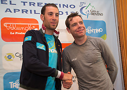 15.04.2013, Lieburg, Lienz, AUT, Giro del Trentino, Pressekonferenz, im Bild Vincenzo Nibali, Cadel Evans // duringa press conference of the Giro del Trentino at the Lieburg, Lienz, Austria on 2013/04/15. EXPA Pictures © 2013, PhotoCredit: EXPA/ Johann Groder