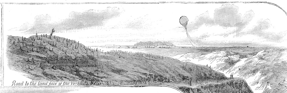 Civil War: Virginia  Yorktown, Virginia Area, 1862 peninsula campaign Civil War Observation Balloon (early military aviation) Harper's Weekly, May 24, 1862.Page 329 (Detail)