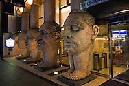 Faces at Dotonbori Hotel -The Dotonbori Hotel in Osaka welcomes guests with an amazing entrance featuring four huge columns with faces depicting the special qualities in human beings. The face columns act as a landmark and define the hotel's traditional architecture.