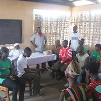 Ben Kirley Volunteer Work in Sierra Leone.....30.07.12<br /> A drama performed to engage local people in issues of electoral intimidation<br /> Picture by Graeme Hart.<br /> Copyright Perthshire Picture Agency<br /> Tel: 01738 623350  Mobile: 07990 594431