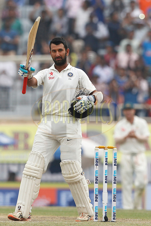 Cheteshwar Pujara of India celebrates his Double century during day four of the third test match between India and Australia held at the JSCA International Stadium Complex in Ranchi on the 19th March 2017. <br /> <br /> Photo by: Deepak Malik / BCCI/ SPORTZPICS