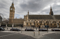 © Licensed to London News Pictures. 10/04/2017. London, UK. The funeral cortege follows the hearse carrying the coffin of policeman Keith Palmer as it leaves the Palace of Westminster.  PC Palmer was murdered just inside the front gate by Westminster attacker Khalid Masood - an attack in which he also killed four people on Westminster Bridge. PC Palmer's funeral will take place at Southwark Cathedral today. Photo credit: Peter Macdiarmid/LNP