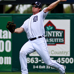 March 9, 2011; Lakeland, FL, USA; Detroit Tigers right fielder Brennan Boesch (26) during a spring training exhibition game against the Philadelphia Phillies at Joker Marchant Stadium.   Mandatory Credit: Derick E. Hingle