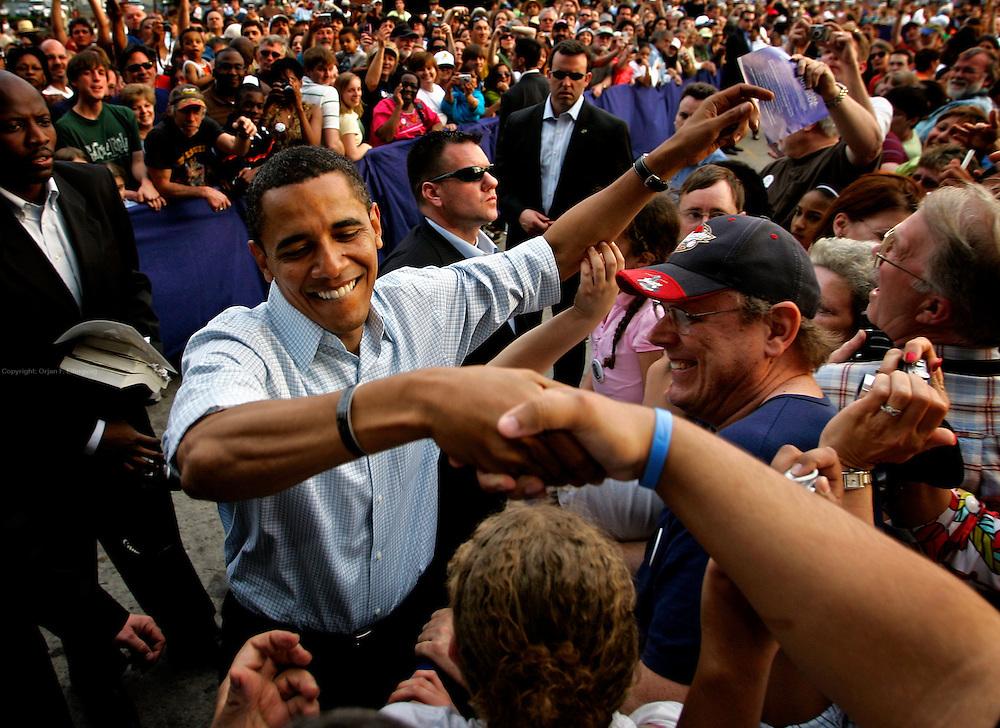 Lancaster, Pennsylvania, USA, 20080419:   The primary elections in Pennsylvania. Presidential hopeful Senator Barack Obama rallies in Lancaster..Photo: Orjan F. Ellingvag/ Dagens Naringsliv/ Corbis