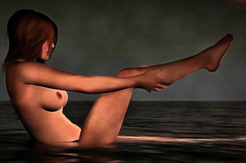 A young woman is taking a bath, but she is clearly not doing this inside a bathtub. She sits in a body of water. That is all we really know about the location. She is washing one of her legs. She does not seem to be in any significant hurry. We stare at her beautiful nude form. We watch her washing her legs. She doesn't seem to be aware of our presence. In this acryl on canvas piece, it could be said that she doesn't really care about our presence. This charming, mysterious piece is available in the form of beautiful wall art.