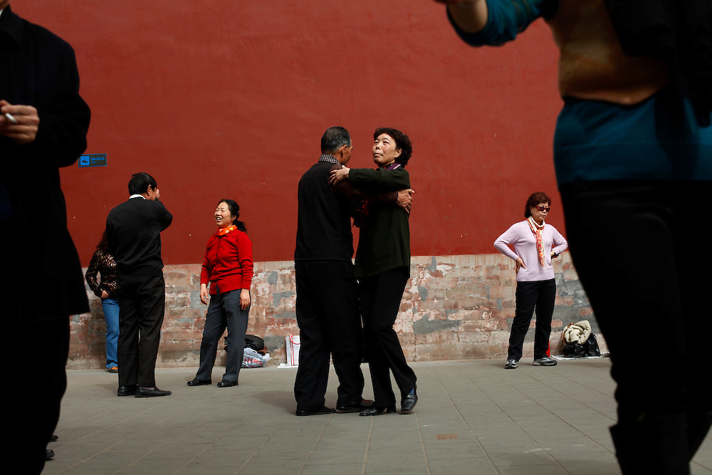 Chinese elderly ballroom dance at Coal Mountain Park in Beijing, China, Sunday, March 15, 2009.