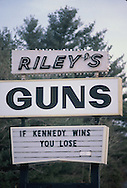 A gun sign photographed during the Senator Ted Kennedy campaign for president in Hookster,  New Hampshire in February 1980<br /> Photo by Dennis Brack
