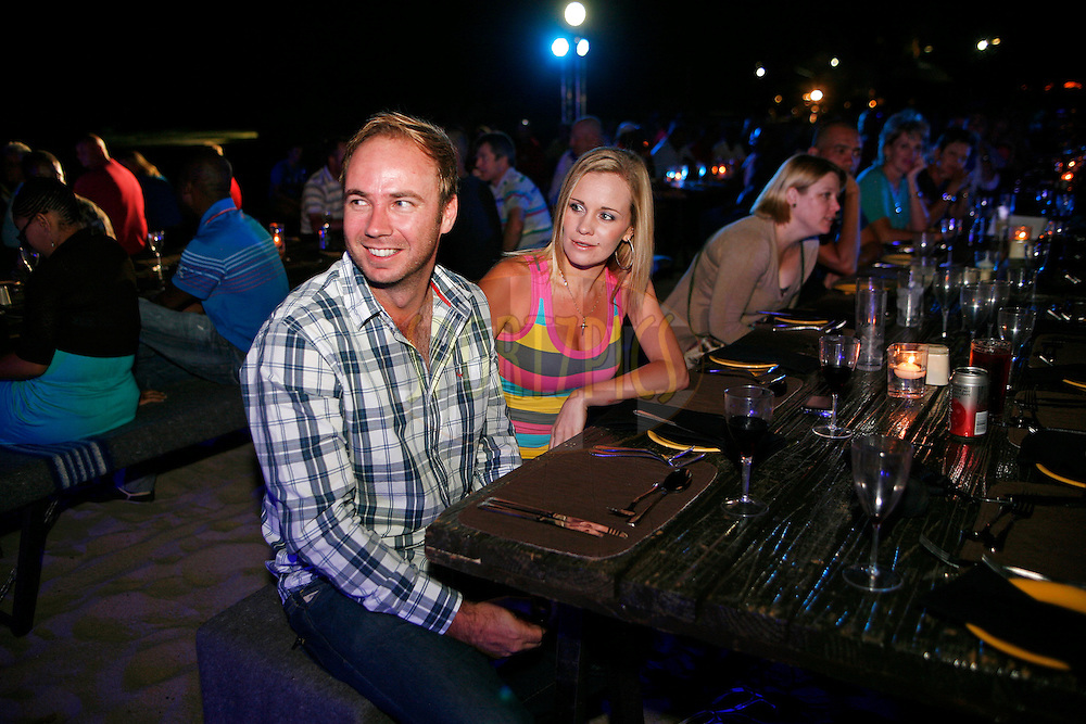 Local South African singer Jakkie Louw and his wife Anel enjoy the evening's festivities during the Valley of The Waves evening function following the first day's action of the Sanlam Cancer Challenge Finals 2012 held at The Lost City Golf Course at Sun City on the 22nd October 2012...Photo by Mark Wessels/SPORTZPICS