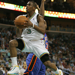 New Orleans Hornets guard Chris Paul #3 drives to the basket against the New York Knicks  in the third quarter of their NBA game on April 4, 2008 at the New Orleans Arena in New Orleans, Louisiana. New Orleans Hornets defeated the New York Knicks 118-110 and with the win clinched a NBA Playoff birth.