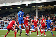 Peterborough United defender Ryan Tafazolli (5) goes close with this header during the EFL Sky Bet League 1 match between Peterborough United and Accrington Stanley at London Road, Peterborough, England on 20 October 2018.