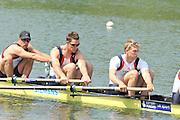 Caversham, Great Britain.  GBR M4-, right to left, Rick EGINGTON, Alex GREGORY and Matt LANGRIDGE. GB Rowing media day, GB Rowing Training Centre, Caversham. Tuesday,  18/05/2010 [Mandatory Credit. Peter Spurrier/Intersport Images]