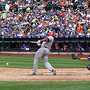 Marlon Byrd, Cincinnati Reds, breaks his bat while batting during the New York Mets Vs Cincinnati Reds MLB regular season baseball game at Citi Field, Queens, New York. USA. 28th June 2015. Photo Tim Clayton