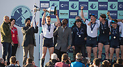 Mortlake/Chiswick, GREATER LONDON. United Kingdom. 2017 Men's Boat Race winners OUBC Celebrate, winning, The Championship Course, Putney to Mortlake on the River Thames.<br /> <br /> <br /> Sunday  02/04/2017<br /> <br /> [Mandatory Credit; Peter SPURRIER/Intersport Images]