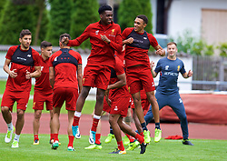 ROTTACH-EGERN, GERMANY - Friday, July 28, 2017: Liverpool's Oviemuno Ovie Ejaria and Trent Alexander-Arnold during a training session at FC Rottach-Egern on day three of the preseason training camp in Germany. (Pic by David Rawcliffe/Propaganda)