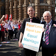 Human and gay rights activist Peter Tatchell with Lord Eric Avebury, both great advocates of theSame Sex Marriage bill outside Parliament ahead of the third and final reading of the 'Marriage Bill 2012-13 to 2013-14' in the House of Lords.<br /> Summary of the Marriage (Same Sex Couples) Bill 2012-13 to 2013-14<br /> A Bill to make provision for the marriage of same sex couples in England and Wales, about gender change by married persons and civil partners, about consular functions in relation to marriage, for the marriage of armed forces personnel overseas, and for connected purposes.