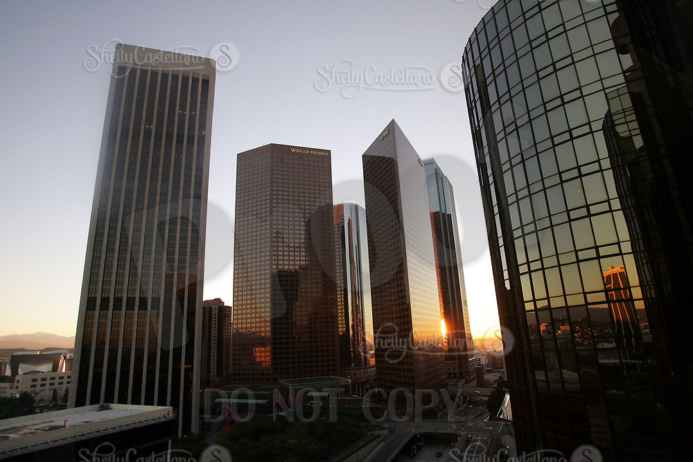 Jan 15, 2005; Los Angeles, CA, USA; Downtown Los Angeles city scape. Tall building skyscrapers reflect the winter early morning light. No traffic on the streets.  Scenic view of downtown LA skyline from inside the city. View from inside the Westin Bonaventure hotel, Wells Fargo Building, KPMG and others.  Mandatory Credit: Photo by Shelly Castellano/ZUMA Press.